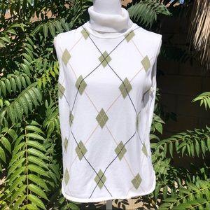 IZOD Argyle Print Sleeveless Sweater Top SZ XL